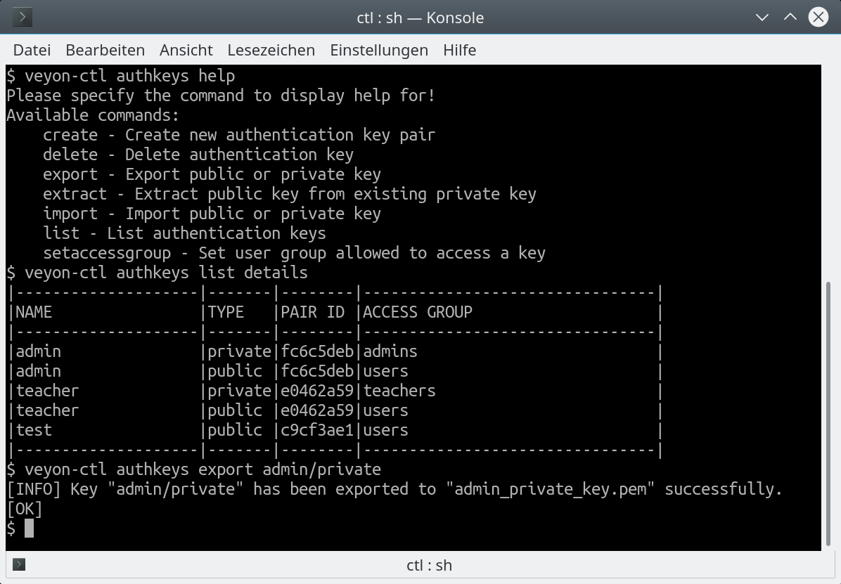 authkeys command line interface